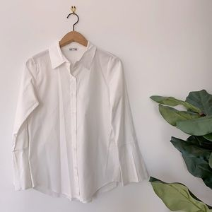 3/$20 Italian Bell Sleeve White Button Down Size S